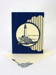 "Give dad a card he won't see anywhere else! This attractive handmade Father's Day card features a striking lighthouse art and the words, ""Happy Father's Day"". The bold wood-grain and striped design features a flap that inserts into the brad on the front of the card, just one of the special touches my cards are known for. You can find this latest addition to my #etsy shop here: https://etsy.me/2Im9sbv #BurnishAndBrayer #burnishandbrayerdesigns @burnishandbrayerdesigns"