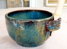 Dip Bowl by Linda Neubauer - Blue Hares Fur dipped, 2 coats of Ancient Jasper brushed over all.