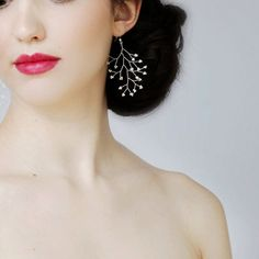 Tiny Freshwater Pearl Branch Earrings by VirginiaGeigerJewels