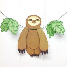 Sloth Crafts, Printables, SVG's DIY's, Food and Gift Ideas: Paper Hanging Sloth With Free Template f Rainforest Crafts, Jungle Crafts, Rainforest Animals, Baby Crafts, Toddler Crafts, Animal Crafts For Kids, Craft Projects For Kids, Diy Crafts For Kids, Kids Crafts