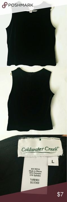 Velvet Sleeveless Top Soft black velvet top from Coldwater Creek Size L  Like new no flaws. Pet and smoke free home. Will be freshly washed before shipping  Made in Macau  90% polyester 10% spandex Coldwater Creek Tops Tank Tops