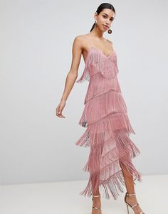 online shopping for ASOS Fringe Mesh Strappy Maxi Bodycon Dress from top store. See new offer for ASOS Fringe Mesh Strappy Maxi Bodycon Dress Pretty Dresses, Beautiful Dresses, Fringe Fashion, Fringe Dress, Retro Dress, Modest Outfits, Summer Outfits, The Dress, Plus Size Outfits