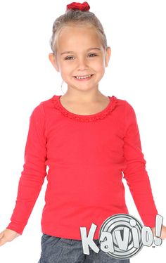 A sweet style for your stylish girl. Our cute long sleeve sunflower tee features delicate ruffles at the neckline that adds a charming look to any outfit! Lettuce edge ruffle at neck line. Girls Long Sleeve Tops, Long Sleeve Shirts, Girls Blouse, Fashion Company, Stylish Girl, Toddler Girl, Girl Outfits, Tees, Sleeves