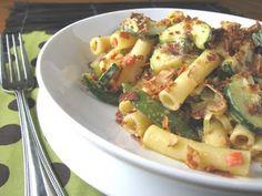 Vegetable Ziti With Garlic Caper Cream Sauce And Bacon Crumbles Recipe ...