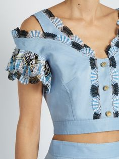 Peter Pilotto Lace-trimmed cotton and linen-blend cropped top