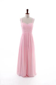 Classic sweetheart empire waist sleeveless with straps floor-length chiffon bridesmaid dress