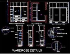 Sliding Wardrobe long working drawing with complete detail like plan, section, elevation, Fixing and blow up detail. Wardrobe Internal Design, Sliding Door Wardrobe Designs, Sliding Door Design, Wardrobe Design Bedroom, Wardrobe Furniture, Alcove Wardrobe, Cupboard Wardrobe, Door Design Catalogue, Wadrobe Design