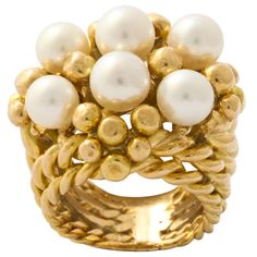 SCHLUMBERGER 18KT Gold Pearl Basket Ring