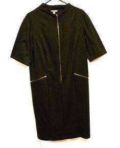ffef09ca7a1 TippyTheoPlus Size That s Fashionable · Roz  amp  Ali Black Dress Womens  Size 16 Zip Front Short Sleeve Zipper Pockets