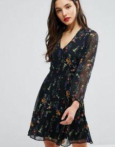 New Look   New Look Botanical Plunge Neck Skater Dress
