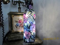 Wine bottle cobalt blue hand painted with pink by ingeborgsorgent