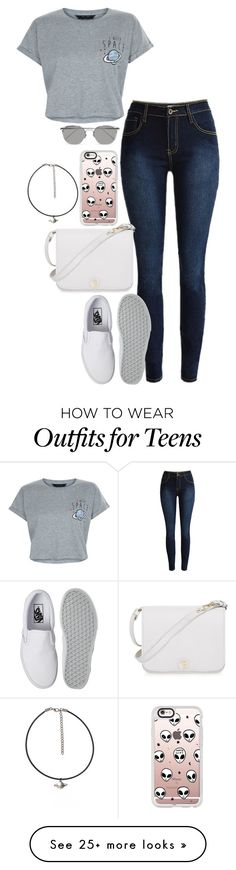 """""""Nothing like the rain, when you're in Outer Space"""" by gianna-santangelo on Polyvore featuring New Look, Vans, Casetify, Furla and Linda Farrow"""