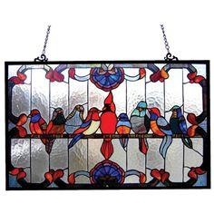 Chloe Tiffany Style Gathering Birds Art Window Panel