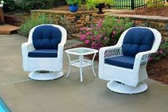 Tortuga Outdoor Biloxi 3 Piece Swivel Patio Bistro Table Set, White with Navy Cushions. Designed for long lasting enjoyment indoors and out. All-weather resin wicker resistant to stains, cracks, water, UV rays. Durable powder coated steel frames. $698.98 with free shipping!