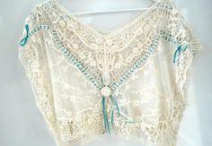 Lace tops for women crochet blouse off-white by ZazaofCanada