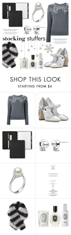 """Gift Guide: Stocking Stuffers"" by pearlparadise ❤ liked on Polyvore featuring Dries Van Noten, Dolce&Gabbana, Levtex, StyleNanda, Charlotte Simone, Diptyque, giftguide, contestentry, pearljewelry and pearlparadise"