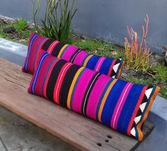 Amazing and unique - these pillows will look great on a bed or along that boring ol grey couch. Vivid stripes in a custom 11 x 23 pillow. Black upholstery fabric backing, hidden zip. Dry-clean only. 2 available. Textiles, Weaving Projects, Ranch Style, Pillow Talk, Decoration, Decorative Pillows, Throw Pillows, Bright Pillows, Pillow Covers