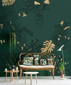 Schat, hoe leuk is zo'n hoekje in ons huisje Honey, how nice is such a corner in our house Interior Design Living Room, Living Room Decor, Bedroom Decor, Wall Decor, Wall Mural, Bedroom Green, Green Rooms, Casa Petra, Green Home Decor