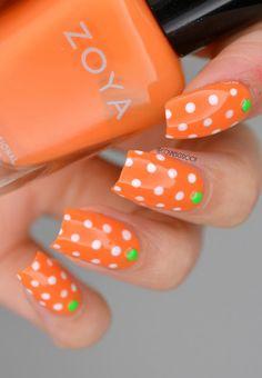53 Best Ideas For Nails Orange White Polka Dots - Summer Nail Purple Ideen Nail Art Orange, Orange Nail Designs, White Nail Art, Short Nail Designs, Nail Designs Spring, Orange Nails, Simple Nail Designs, Nail Art Designs, Nails Design