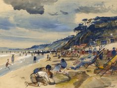 """Alan Sorrell: """"The Beach at Southend, circa SignedPen and ink and watercolour 11 x 14 in. Mural Painting, Paintings, British Schools, Tate Gallery, How To Make Drawing, London Transport, Royal College Of Art, Camping Life, Beach Babe"""