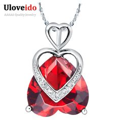 Find More Pendant Necklaces Information about No Minimum Vintage Elegant Heart Shape Pendant Necklace 925 Sterling Silver Jewelry with CZ Simulated Diamond Purple/Red N483,High Quality jewelry india,China jewelry mosaic Suppliers, Cheap jewelry neck from ULOVE Fashion Jewelry on Aliexpress.com
