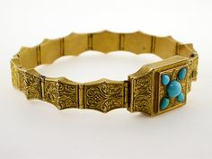 Victorian  Persian Turquoise  14k Yellow Gold Hinged Panel Link Bracelet