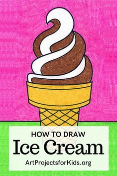 Summer Drawings, Art Drawings For Kids, Kids Artwork, Easy Drawings, Art For Kids, Draw Ice Cream, Melting Ice Cream, Ice Cream Art, Drawing Projects