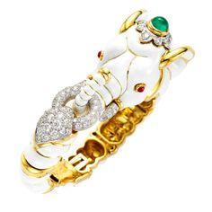 DAVID WEBB BANGLES AND BRACELETS | DAVID WEBB White Enamel Elephant Bangle Bracelet at 1stdibs