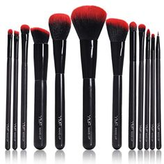 12 Pcs Premium Synthetic Cosmetic Makeup Brush Set Kit with Black Leather Case * Want additional info? Click on the affiliate link Amazon.com on image.