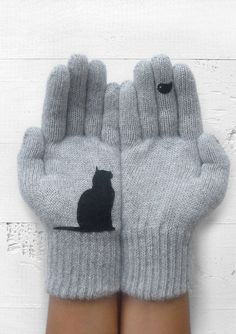 Cat Lover Gift Cat Gloves Winter Gloves Women Gray Wool Gloves Pet Mittens Cat Gifts Holiday Gift For Women Grey Gloves, Wool Gloves, Mitten Gloves, Cat Lover Gifts, Cat Gifts, Cat Lovers, Crazy Cat Lady, Crazy Cats, Chat Crochet