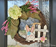 Easter Blessings Grapevine Wreath with Adorable Bunny by ATwistDivine