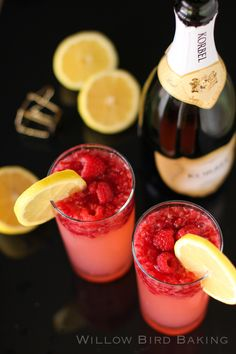 Limoncello, Raspberries and Champagne For A New Years Eve Cocktail Drink That Tastes Like Raspberry Lemonade!