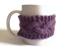Mug Cozy Coffee Cozy Coffee Sleeve Cup Cozy Cable by MadebyMegShop, $15.00 #mugcozy #coffeecozy #coffeesleeve #cupcozy #cableknit #purple #dustypurple #ecofriendly