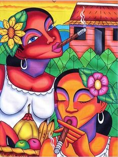 Shop for 'Women With Cigars' Canvas Painting (Cuba). Get free delivery On EVERYTHING* Overstock - Your Online Art Gallery Store! Latino Art, Afrique Art, Cigar Art, Caribbean Art, Arte Pop, Art Graphique, Arts And Entertainment, Banksy, Love Art