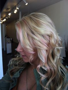 light pink highlights in blonde hair - Google Search