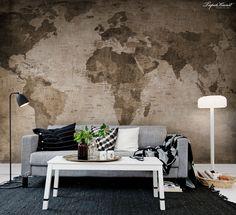 Worldmap Sephia - Verdenskort - Tapetkunst.dk