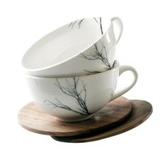 Tree Cup Set of 2 - Love Milo 2 porcelain tea cups + 2 hand carved wooden saucers cups are dishwasher & microwave safe wood can be treated with olive oil Tea Cup Set, Cup And Saucer Set, Tea Cup Saucer, Porcelain Mugs, Ceramic Plates, Love Milo, Kitchen Confidential, Be Natural, Toy Kitchen