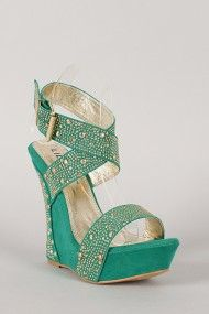 Liliana Gier-1 Jeweled Ankle Strap Open Toe Platform Wedge