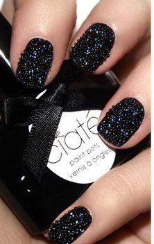 black #sparkle nails