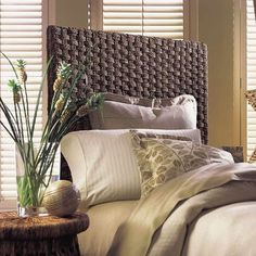 Discover the best coastal bedroom furniture sets for a beach home. Browse beach bedroom furniture sets like beds, headboards, dressers, and nightstands. Seagrass Headboard, Wood Headboard, Panel Headboard, Headboards, Headboard Ideas, Wicker Shelf, Wicker Sofa, Wicker Furniture, Coastal Furniture