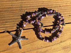 Purple Boho Bead Necklace, Amethyst Beach Necklace, Purple Gemstone Bead Necklace, Starfish Bead Necklace, Amethyst Long Bead  Necklace
