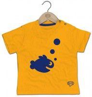 Geel t-shirt met blauwe vis - Stones and Bones