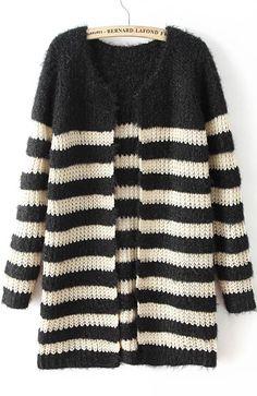 Black Long Sleeve Striped Knit Cardigan 23.33