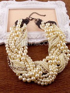 Women's Pearl Statement Necklace Layered Twisted Statement Ladies Luxury Pearl Alloy White Necklace Jewelry For Wedding Party Special Occasion Cosplay Costumes Pearl Statement Necklace, White Necklace, Rhinestone Necklace, Pearl Choker, Cluster Necklace, Pearl Bracelet, Silver Earrings, Pearl Jewelry, Jewelery