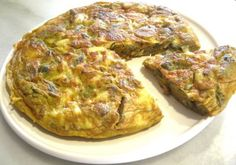 tortilla de alcachofas y bacalao