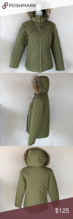FERA Signature Green Jacket w/ Faux Fur, 8 This lovely FERA Signature Green Jacket w/ Faux Fur, 8 is super warm and great to wear on those cold winter days!   GREAT CONDITION Two HARDLY NOTICEABLE spots, see last two photos PLEASE ASK FOR MEASUREMENTS BEFORE PURCHASING Fera Jackets & Coats