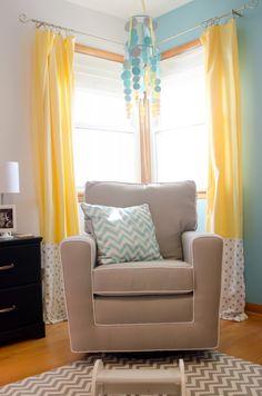 Aqua and yellow make a great combination. #yellow #nursery