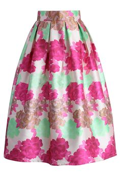 Blossoming Wreath Pleated Midi Skirt - New Arrivals - Retro, Indie and Unique Fashion