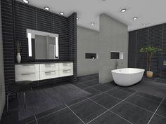 Spacious and masculine bathroom design 🖤 Contemporary Style Bathrooms, Masculine Bathroom, Bathroom Styling, Bathroom Ideas, Home Interior Design, Minimalism, Architecture, Modern, House