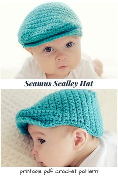 Crochet I love this simple, adorable baby flat top cap crochet pattern!, love this simple, adorable baby flat top cap crochet pattern! I love this simple, adorable baby flat top cap crochet pattern! Crochet Newsboy Hat, Crochet Baby Boy Hat, Crochet Hat With Brim, Crochet Hats For Boys, Baby Knitting, Crochet Baby Clothes Boy, Knitting Hats, Crochet Cap, Crocheted Hats